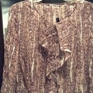 Tahari brown and cream sheer top, S, nwt